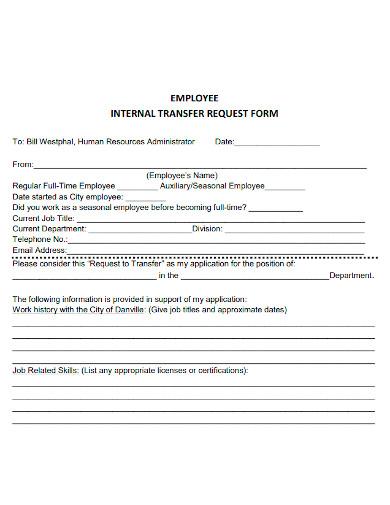 employee internal transfer request samples