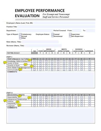 employee performance evaluation service report