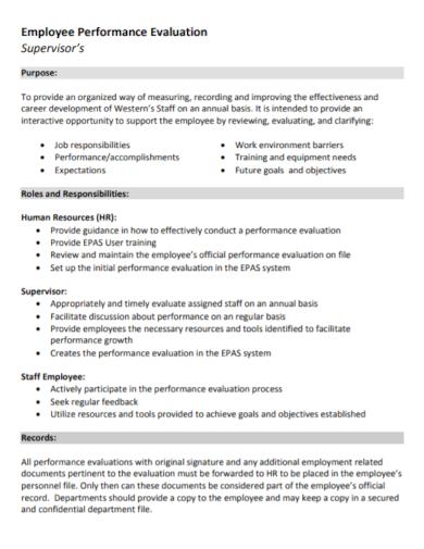 employee performance evaluation supervisor report