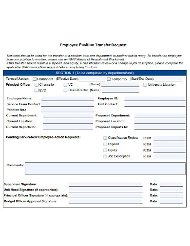 employee position transfer request