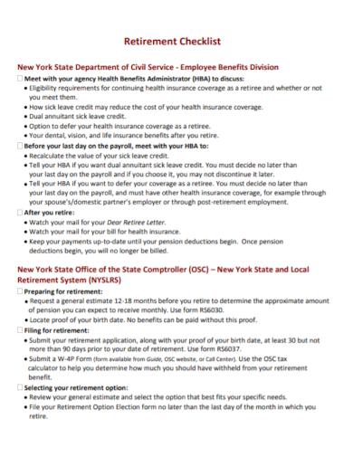 employee retirement planning checklist