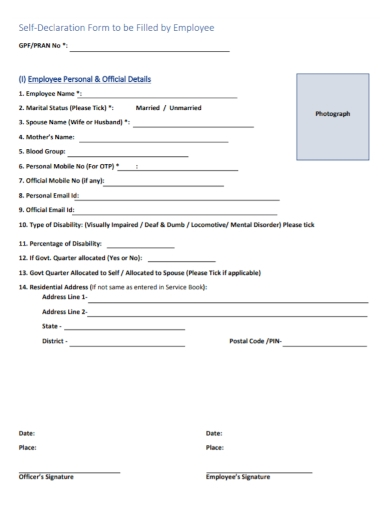 employee self declaration form