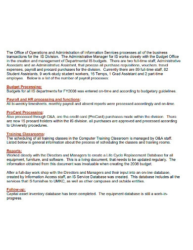 employee services accomplishment report