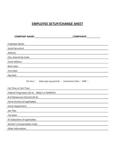 employee setup status change worksheet