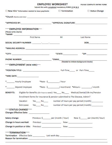 employee termination status change worksheet