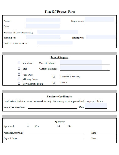 employee time off request forms