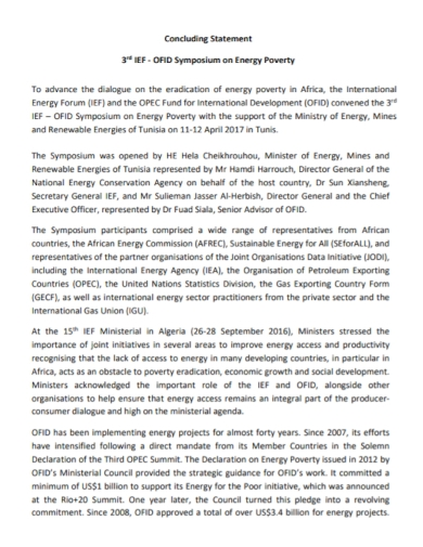 energy poverty concluding statement