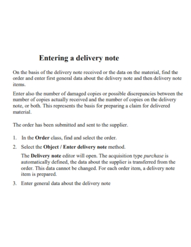 entering new delivery note