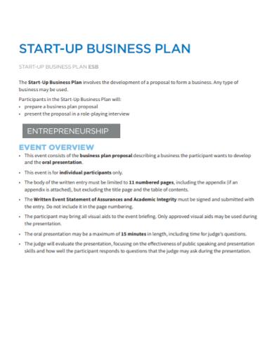 entrepreneurship start up business plan
