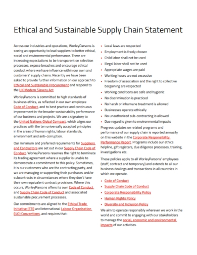 ethical sustainable supply chain statement