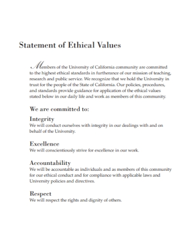 ethical values statement
