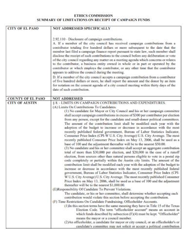 ethics commission summary receipt