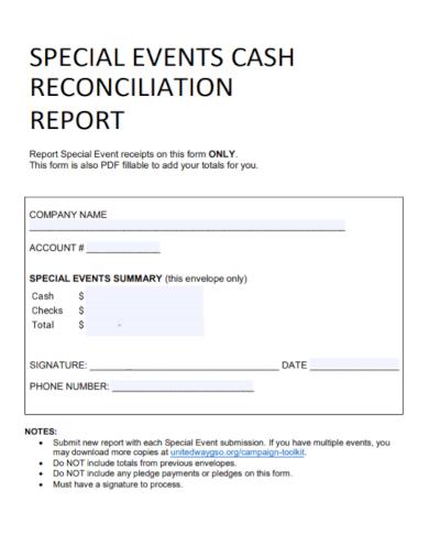 events cash reconciliation report