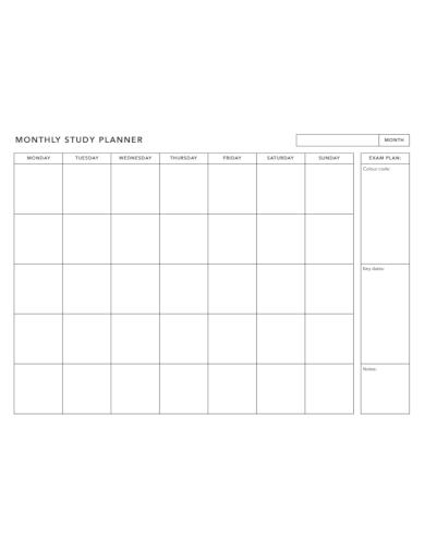exam monthly study planner