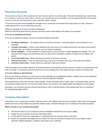 executive summary company description