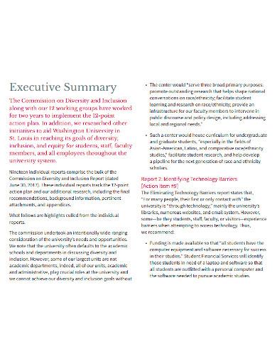 executive summary report sample