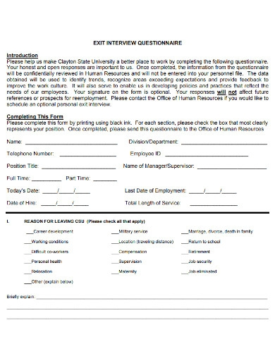 exit interview questionnaire samples