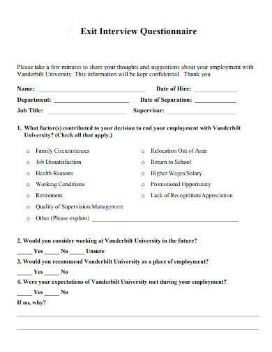 exit interview questionnaires