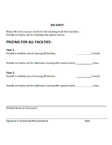 facilities cleaning bid sheet