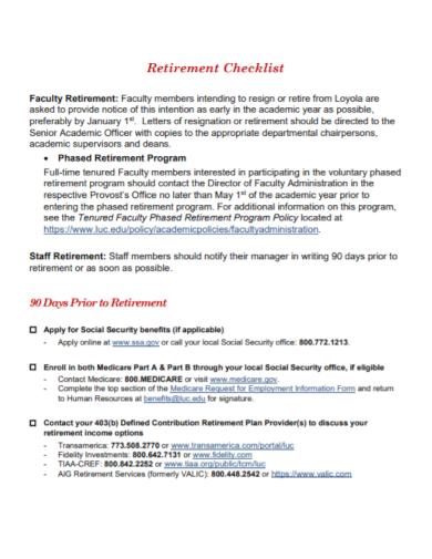 faculty retirement income checklist