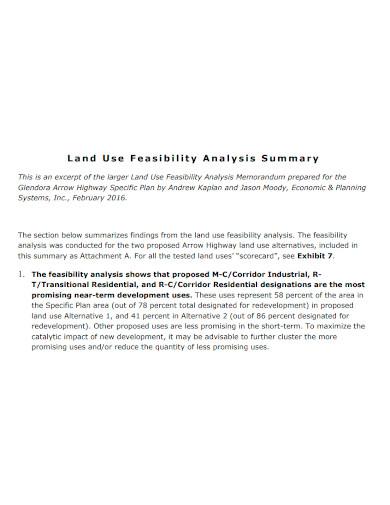 feasibility analysis summary