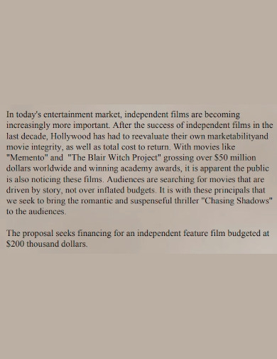 film project investment proposal