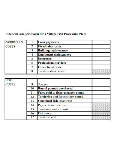 financial feasibility analysis form