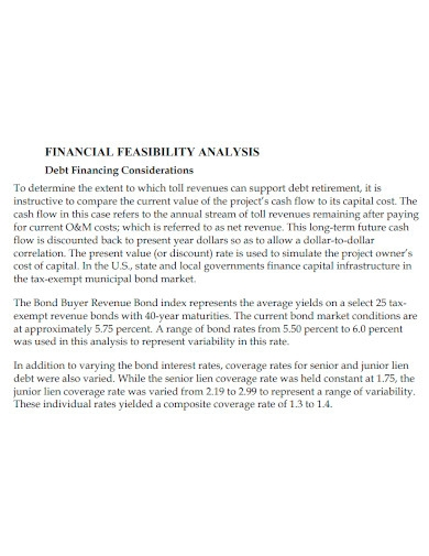 financial feasibility analysis samples