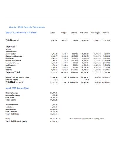 financial quarterly income statement