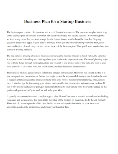 financial startup business plan