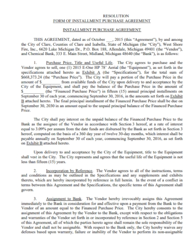 fire vehicle installment purchase agreement