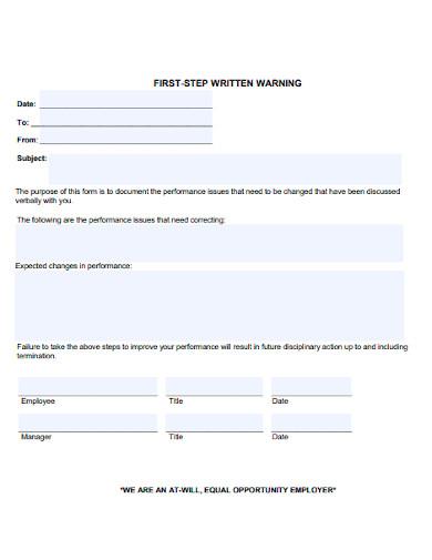 first step written warning