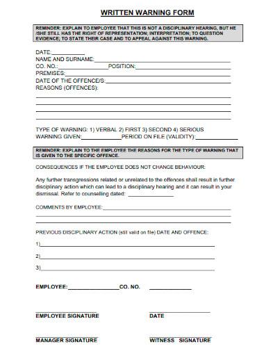 first written warning form