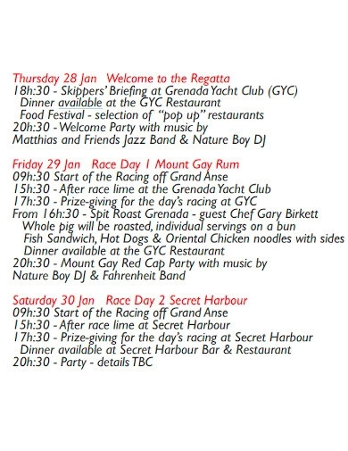 formal party event schedules