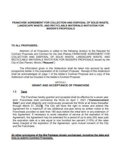 franchise invitation bid proposal