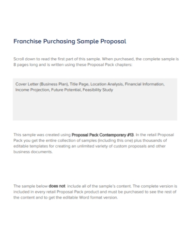franchise purchasing proposal