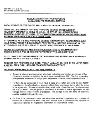 franchise service request for proposal