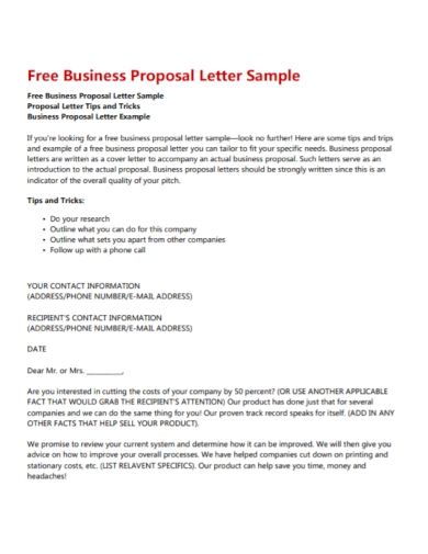 free business proposal acceptance letter
