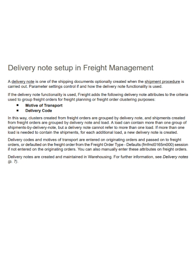 freight management new delivery note