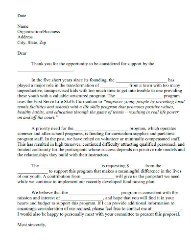 funding proposal cover letter sample