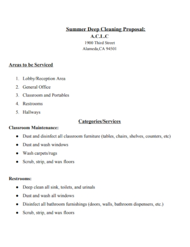 general office cleaning proposal