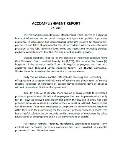 government employee accomplishment report