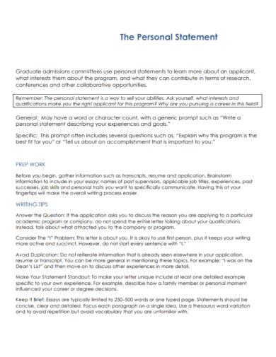 graduate admission personal statement
