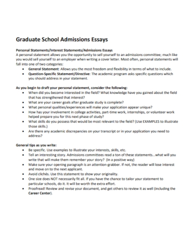 graduate school essay personal statement