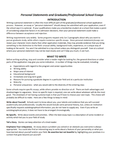 graduate school essays personal statement