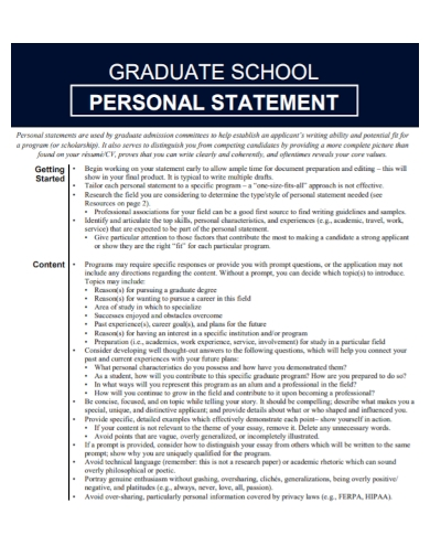 graduate school supplement personal statement