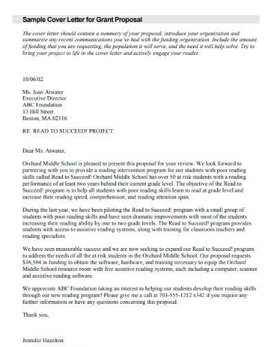 grant proposal cover letter sample