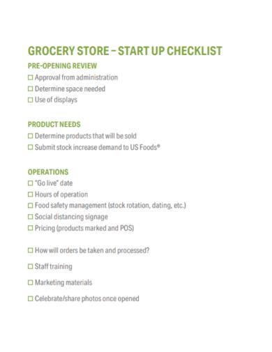 grocery store start up checklist