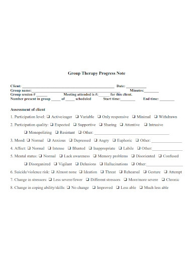 group therapy progress note