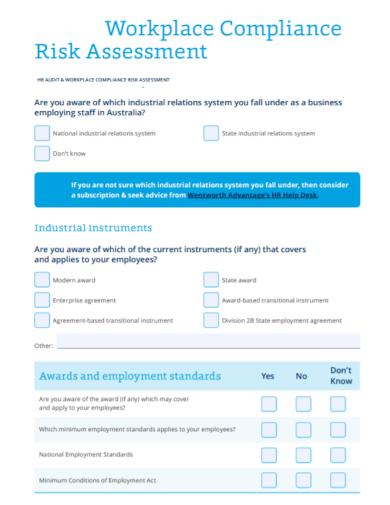hr compliance risk assessment checklist sample